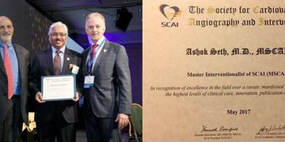 "Dr Ashok Seth receiving the ""Master Interventionalist"" award by Dr Kenneth Rosenfield (Immediate Past President, SCAI) and Dr Kirk N. Garratt (President, SCAI) - 2017"