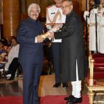"Dr Ashok Seth receiving the ""Padma Bhushan"" award by Pranab Mukherjee, President of India - 2015"